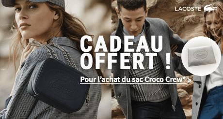 OFFRE SPECIALE LACOSTE : une pochette offerte pour l'achat d'un sac Croco Crew !