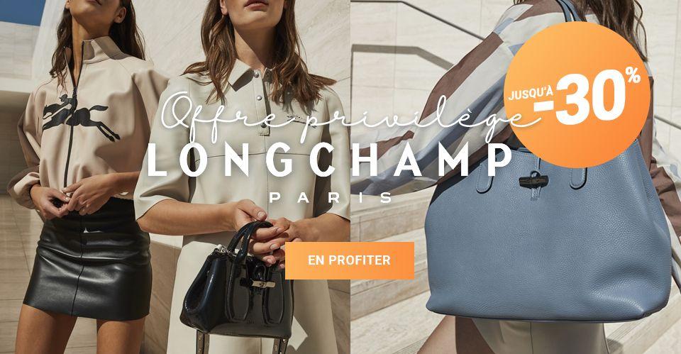 Sac Longchamp en promotion - Offres privilèges jusqu'à -30% !